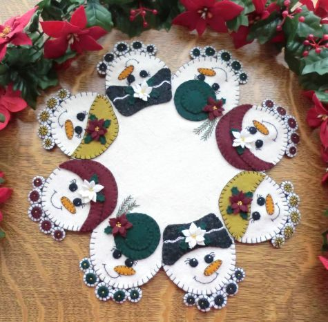 Snow Ladies Wool Applique Candle Mat Pattern by  Cath's Pennies Designs