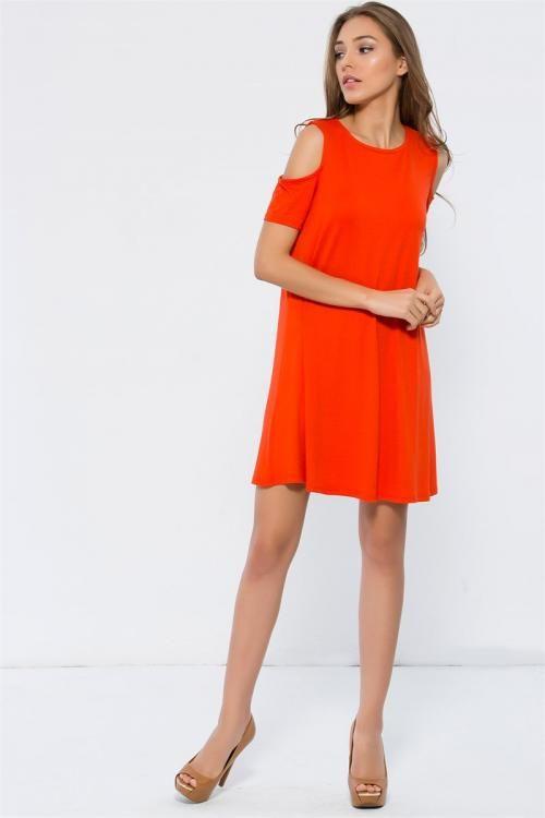 Omuzu Açık Bol Kesim Elbise - Fotoğraf