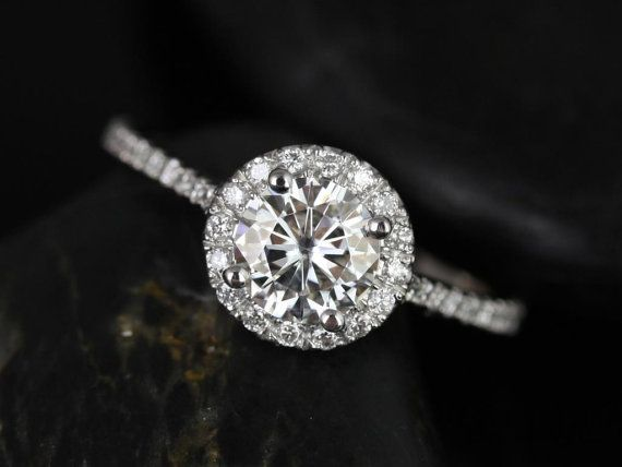 Petite Size Kubian Platinum Round FB Moissanite and Diamonds Halo Engagement Ring (Other metals and stone options available)