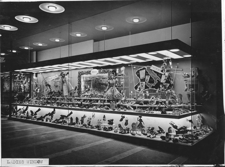 Bata England Shoe Shop Flagship Store 151 Oxford Street London, opened April 18th 1956, view of Ladies window