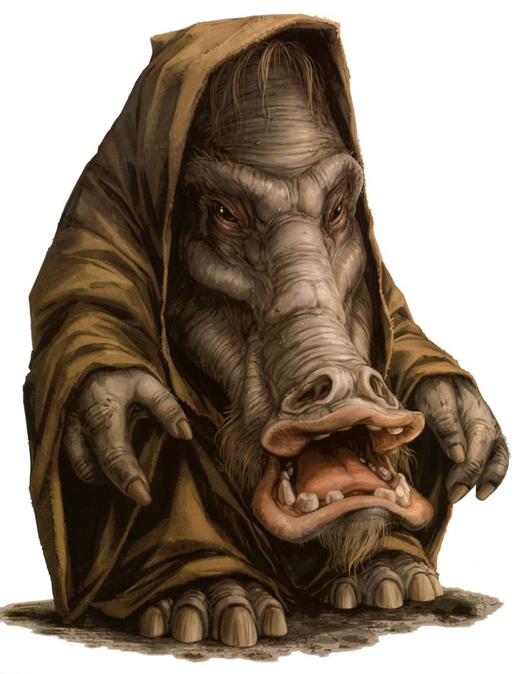 Chevin were bipedal pachydermoid sentients native to the planet Vinsoth. They had a poor reputation in much of the galaxy, partly due to their involvement in unsavory activities such as smuggling, and partly because they had enslaved the Chevs, a humanoid species who shared Vinsoth with them. The Chevin evolved from smaller relatives of the giant mammals who were wiped out when an asteroid collided with Vinsoth millions of years before the time of the Galactic Republic. Chevin had long...