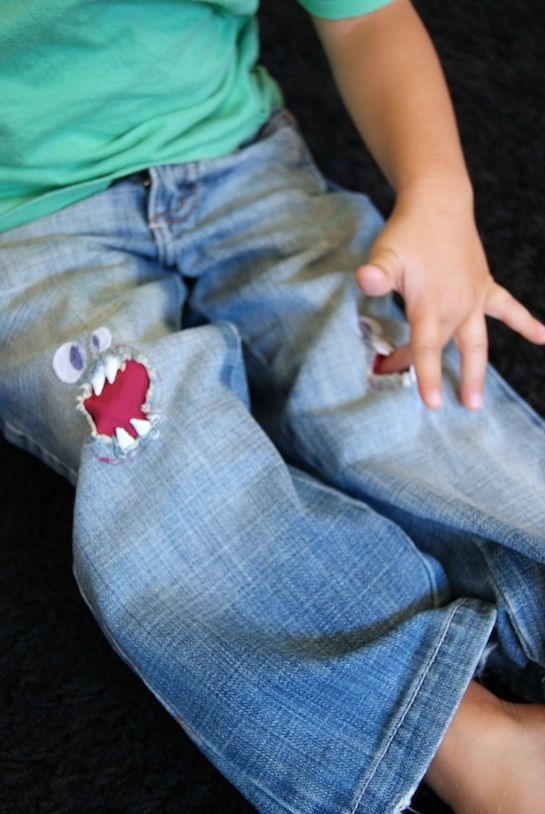 Faces for ripped pants - my little guys would LOVE this.