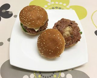Mini hamburguesas rellenas de crema de queso con boletus