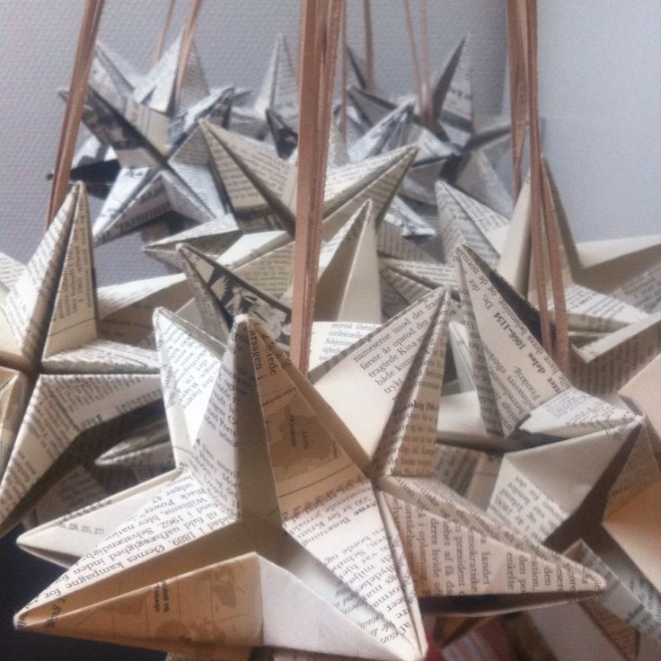 Omegastars with leather string - made from old news