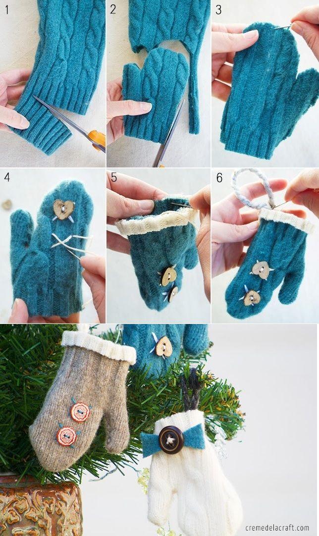 DIY-Mini Mitten Ornaments from an Old Sweater - http://www.amazinginteriordesign.com/diy-mini-mitten-ornaments-old-sweater/