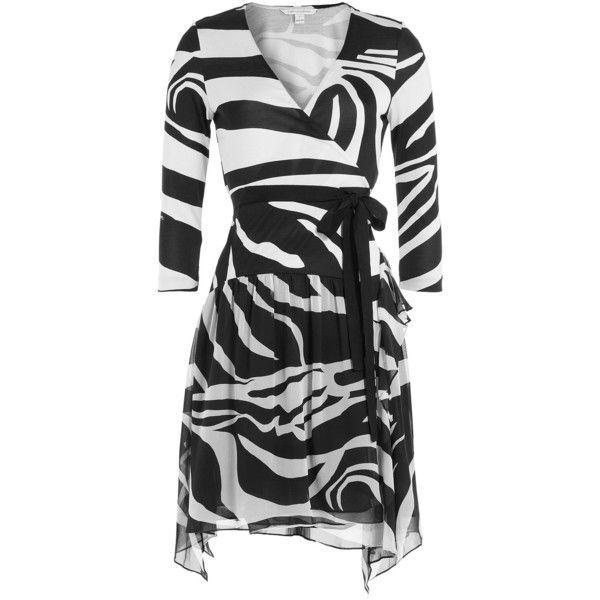 Diane von Furstenberg Printed Silk Wrap Dress (357,250 KRW) ❤ liked on Polyvore featuring dresses, multicolored, wrap dress, going out dresses, party dresses, animal print dress and 3/4 sleeve dress