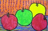 """First graders used overlapping, foreground, middleground, and background to create the illusion of depth in this apple still life inspired by Paul Cezanne's art. Then, they used line, shape, and color pattern to create an interesting and balance composition."""