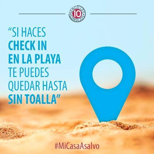 #MiCasaASalvo Evita comentar tus  actividades durante las vacaciones en las RRSS. Los cacos también tienen Facebook.