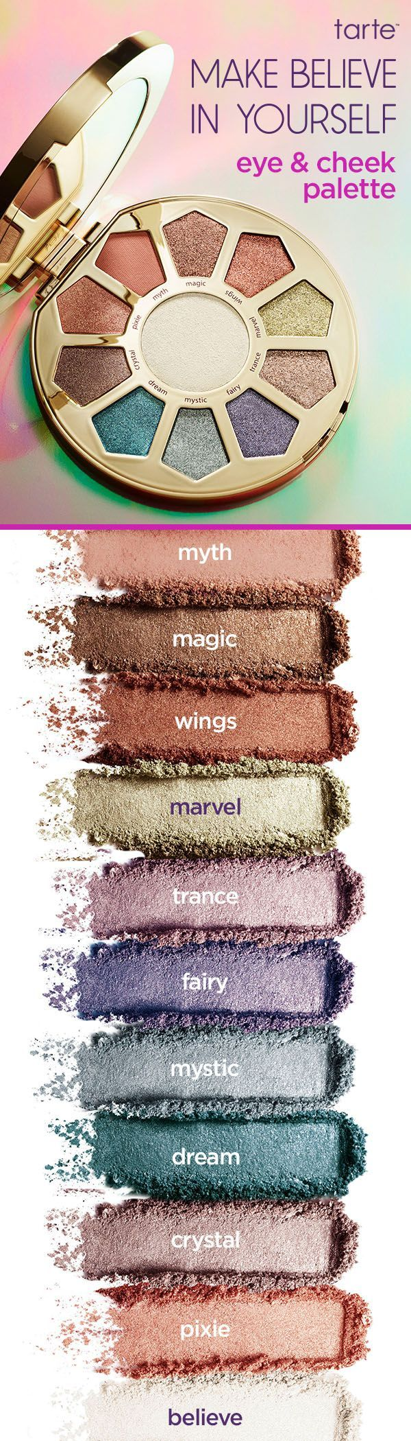 Swatches of our NEW #makebelieveinyourself limited-edition make believe in yourself eye & cheek palette! 10 luminous shadows to bring all your fairytale dreams to real life.