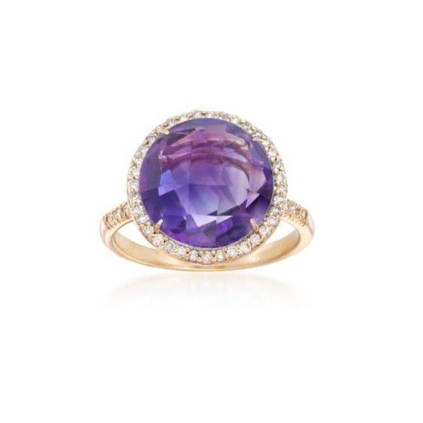 Ross-Simons Amethyst, Diamond Ring in 14kt Yellow Gold. Size 7, .28ct... (6.805 DKK) ❤ liked on Polyvore featuring jewelry, rings, gold jewelry, purple diamond ring, amethyst gold ring, amethyst diamond ring and yellow gold amethyst ring
