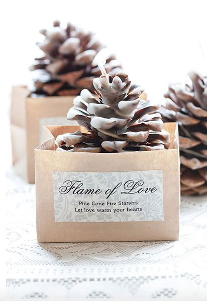Pine cone firestarters. How cool (or hot) is this idea! so inexpensive but definitely a memorable favour!