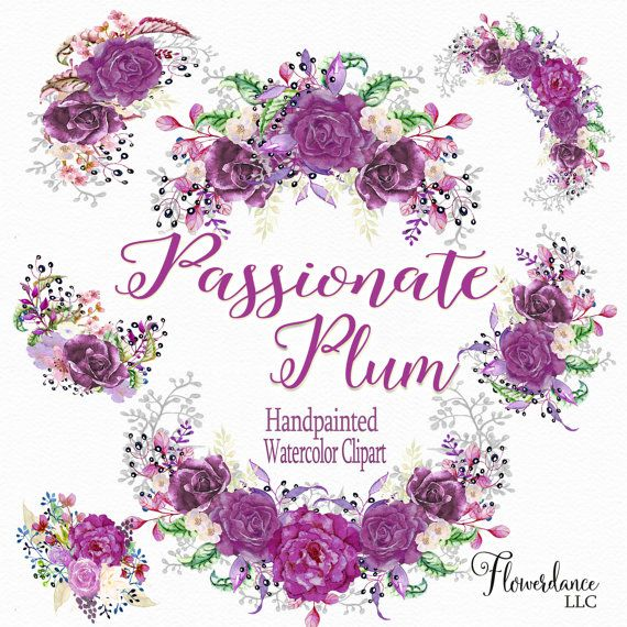 5 Plum Clipart Bouquets and Boho Wreath, Passionate Plum ...