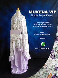 Mukena Vip Simple Purple Flower - Grosir Pesan Mukena katun jepang santung bordir batik bali murah anak