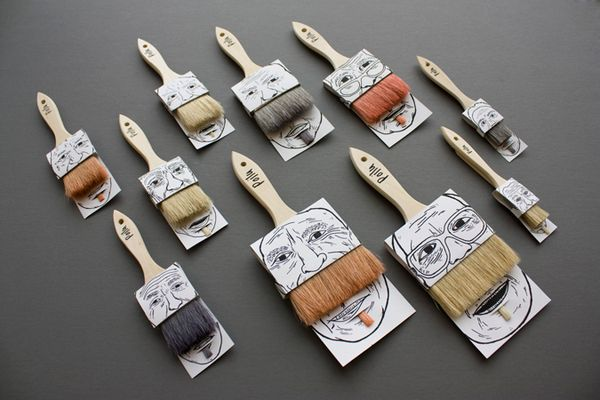 Funny paintbrush packaging by Poilu