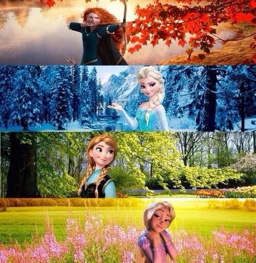 Merida, Elsa, Anna, and Rapunzel.