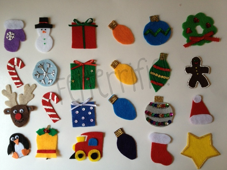 Felt designs ideas for homemade ornaments.  I want to use some of these to decorate my advent calendar.