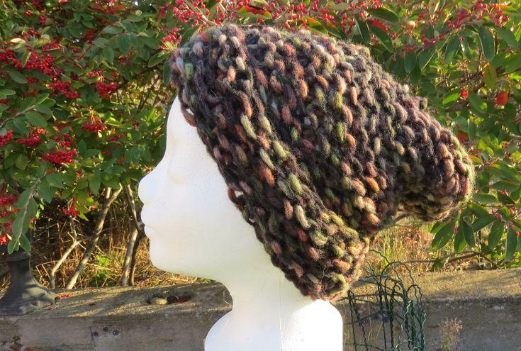 Bonnet long Katia grande taille à revers en grosse laine