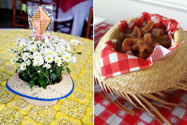 prato/vaso de chapéu de palha - 10 Ideias Criativas para Decorar sua Festa Junina.
