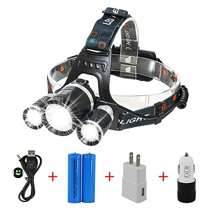 LIGHTESS LED Headlamp Rechargeable Waterproof Head Flashlight Lamp with 3 XM-L T6