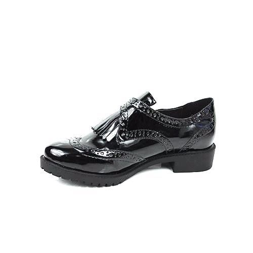 WOMENS LADIES BLACK CHUNKY SOLE OXFORD STYLE TASSLE BROGUES LOAFERS SHOES 3-7.5