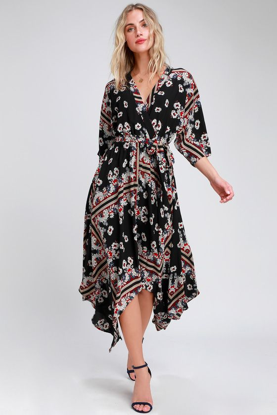 81ca563e020 Delta Black Print Midi Dress