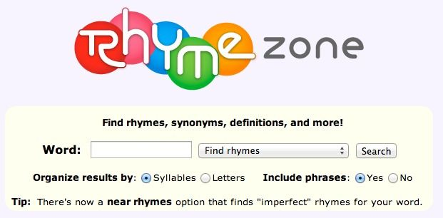Online Rhyming Dictionary - Grades 5-12 - One of the best resources on the web, this site does an excellent job of finding rhymes for just about anything. Some of the ads can be troublesome, so purchasing the iPad app is a better option for younger students.