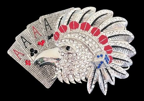 Indian Rhinestone Wild Birds Eagle Falcon Cards Belt Buckle Belts Buckles #eagle #eagles #eaglebuckle #eaglebeltbuckle #flyingeagle #baldeagle #americaneagle #beltbuckles #coolbuckles #buckle #rhinestones #pokerhand #eaglepokerhand #rhinestonebuckles #rhinestoneeagles #rhinestones