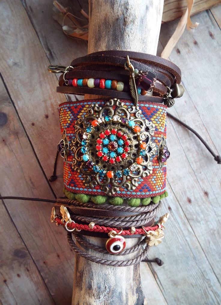 Couture Multi-Color Rhinestone RibbonTrim Bracelet  Boho Hippie Filigree Antiqued Brass Charm.