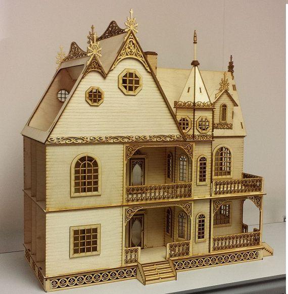 Jasmine Gothic Victorian Dollhouse Half inch by LaserDollhouses