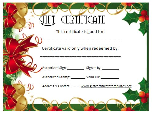 holiday gift certificate template free printable - christmas gift certificate template gift certificate