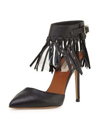Illusion Fringe Ankle-Wrap Pump, Nero by Valentino at Neiman Marcus.