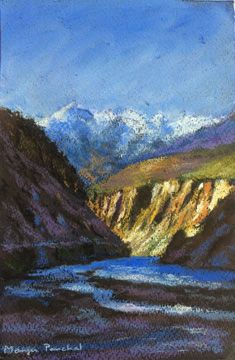 Soft pastel painting of a landscape from Spiti Valley in Himachal Pradesh ( India ). Created by Manju Panchal
