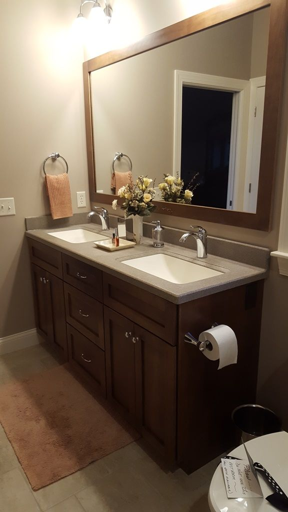 Photo On Custom Cultured Marble Vanity Top shown in the color Amber with White Integral Wave