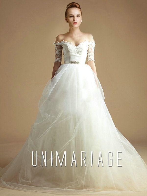 Dentelle Robe Mariage Princesse 2014 Avec Manches Transparente UNI0606