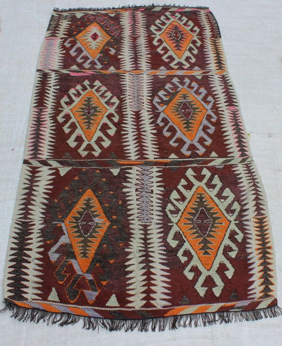 """Interesting Pattern Kilim Rug pastel colors Rug naturally dyed wool handicraft antique carpets rugs killims Tribal Rug 8'x4'4"""" / 246x132cm"""