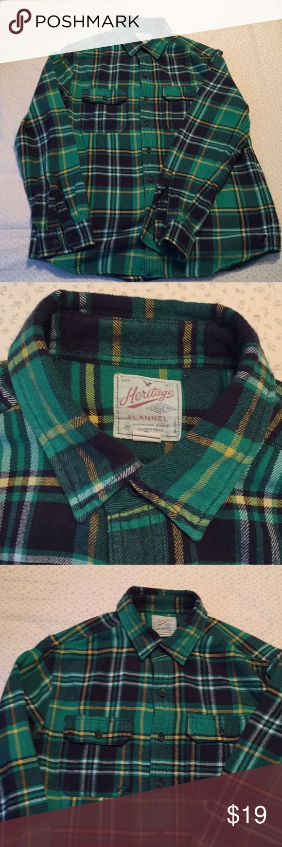 Green long sleeve plaid flannel shirt worn couple time and it's clean with excellent condition. American eagle American Eagle Outfitters Shirts Casual Button Down Shirts