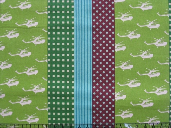 Echino Helicopter Green for boy quilt