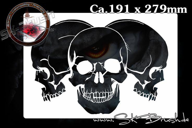 Airbrush Schablone für Schädel - Totenköpfe - Skulls | SK-Brush - Fachgeschäft und Custompaint Studio für Airbrush & Pinstriping