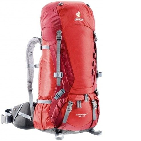 Deuter Aircontact 45+10L- Fire Cranberry Brand: DEUTER Description Deuter Aircontact 45+10 Fire-Cranberry Backpack has variQuick adjustable shoulder harness. buy now:http://bit.ly/2fxJg4i