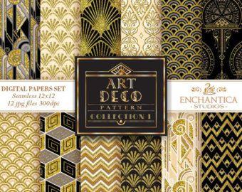 Art Deco digitale papier Art Deco behang gouden patronen
