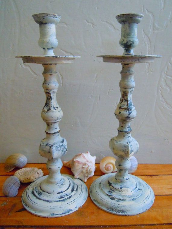 French Country Candle Holders Distressed in by VintageChichibean, $36.00
