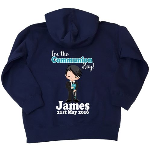 Personalised Holy Communion Hoodie for Boys. A cute moment and comfy gift from the special occasion for any little boy. WowWee.ie | €24.99
