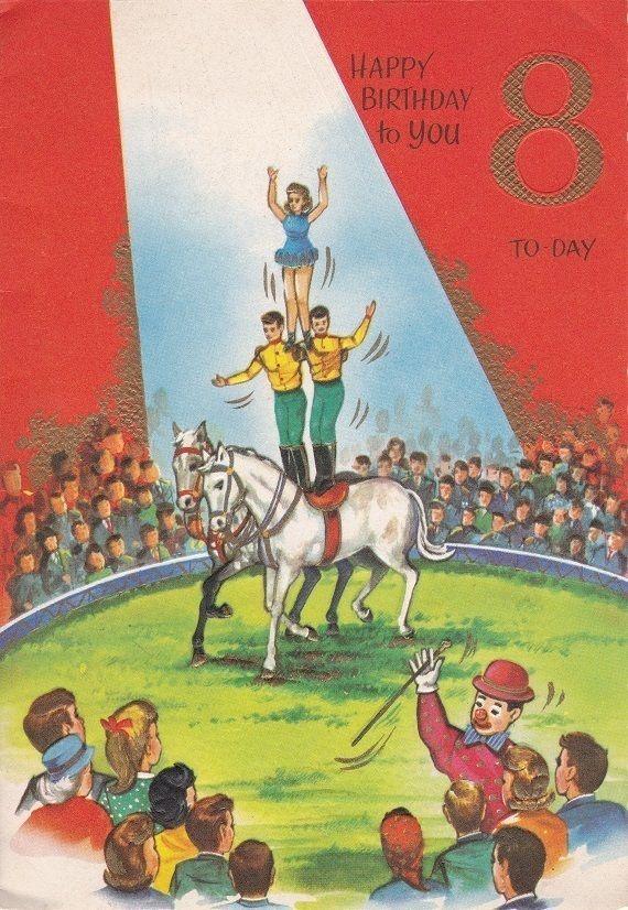 Cute Vintage 8th Birthday Card Circus Theme Acrobats Horse – Clown Birthday Cards