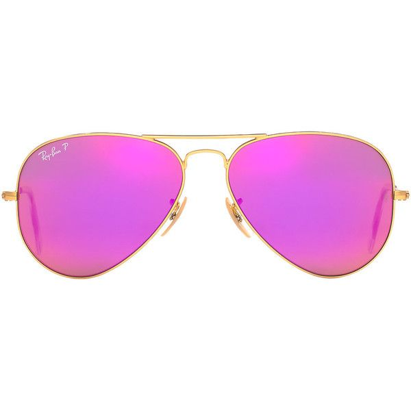 Ray-Ban Rb3025 58 Original Aviator Gold Sunglasses ($200) ❤ liked on Polyvore featuring accessories, eyewear, sunglasses, mirrored aviators, mirror aviator sunglasses, gold lens sunglasses, ray ban glasses and gold lens aviators