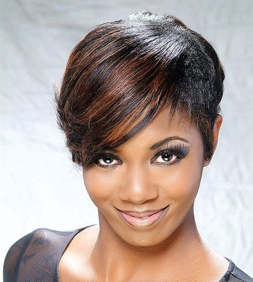 black pixie hairstyle with long bangs