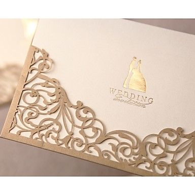Gorgeous Lace Cut-out Wedding Invitation In Gold (Set of 50) – USD $ 69.99