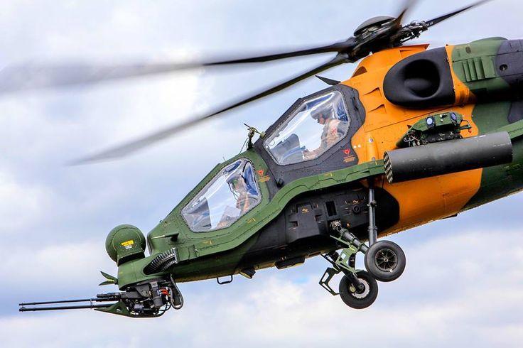 TAI/AgustaWestland T129  Feroz pose del helicóptero desarrollado por Turquía e Italia tomando como base el Mangusta. Es un helicóptero de ataque bastante ligero, pesando en vacío 2.350 KG frente a los 5.000 del Apache, aunque lleva una panoplia de combate muy completa, similar al norteamericano