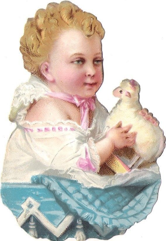 Oblaten Glanzbild scrap die cut chromo Baby bebe 10,5 cm Schaf sheep Lamm lamb