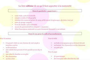 liste complète sac maternité accouchement à télécharger