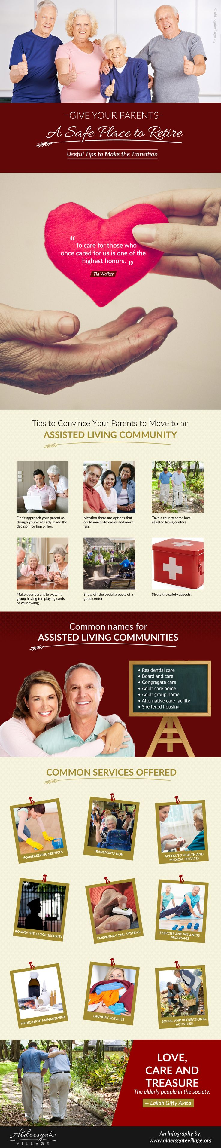 An Infography on Senior Living Community  -  This infography is presented by Aldersgate Village, a reputable retirement living community in Topeka. They offer wide range of services including assisted living, home health care services, skilled nursing, and more. http://www.aldersgatevillage.org